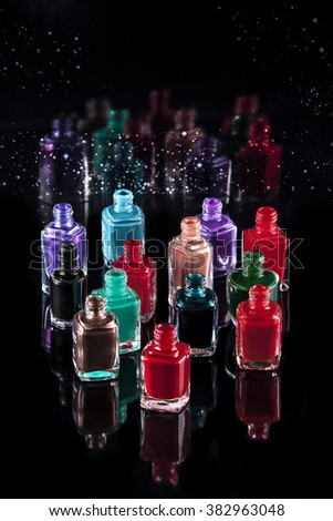 nail polish of different colors - stock photo