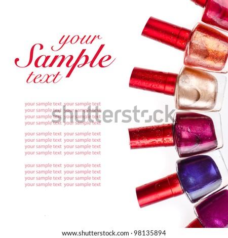 Nail polish on isolated white background - stock photo