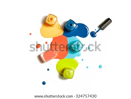 Nail Polish splatter on white background - stock photo