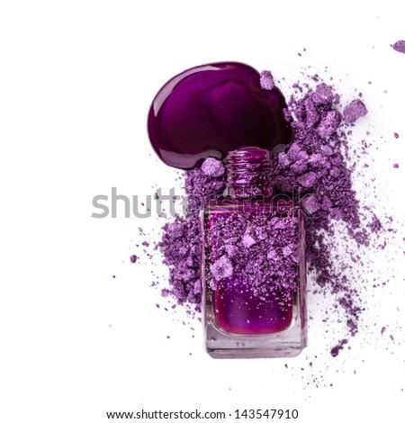 Nail polish with blots isolated on white background - stock photo