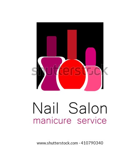 Nail Salon logo. Symbol of manicure. Design sign - nail care. Beauty industry, nail salon, manicure service, spa boutique, cosmetic products. Cosmetic label.  - stock photo