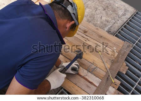Nailed on the wooden floor to anchor consists of a background old wooden doors, window frames, persons an incognito clear or restrictions.
