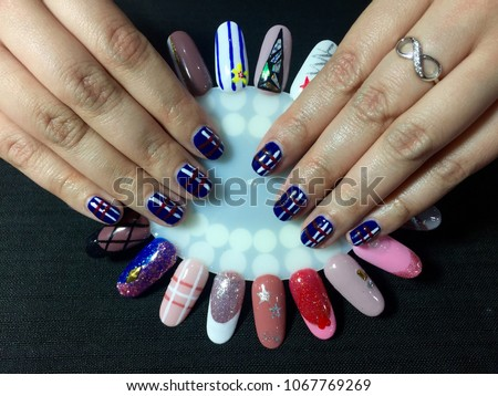 Nails Art Dark Blue Manicure Stylish Stock Photo Royalty Free