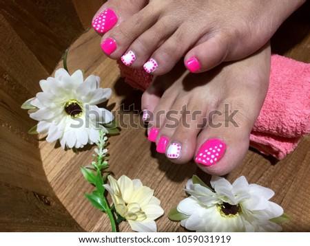 Nails Art Pink White Nail Polish Stock Photo Edit Now 1059031919