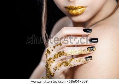 Nails design gold lips fashion beauty stock photo 586047809 nails design gold lips fashion beauty glamour girl with bright makeup beauty prinsesfo Choice Image