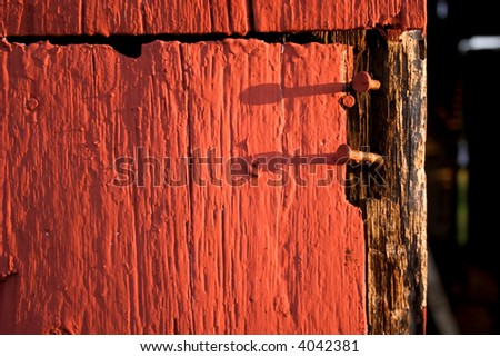nails in barn wood - stock photo