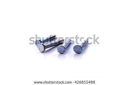 Nails isolated on white background . - stock photo