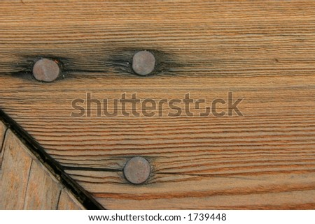 Nails on Wood - stock photo
