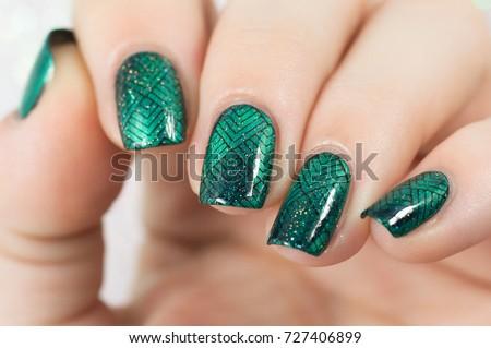 Nails Green Cateye Nail Polish Black Stock Photo (Royalty Free ...