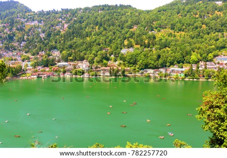 "Nainital Lake, a popular boating site ,  One of the most popular and exquisite hill station ""Nainital"" is located in the Kumaon region in the state of  Uttarakhand"