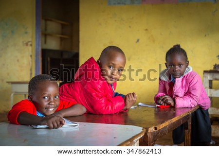 NAIROBI, KENYA - November 1st 2015: Unidentified boys in a Nairobi classroom in November 1st in 2015, Nairobi, Kenya, East Africa.