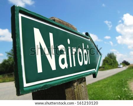 Nairobi signpost along a rural road - stock photo