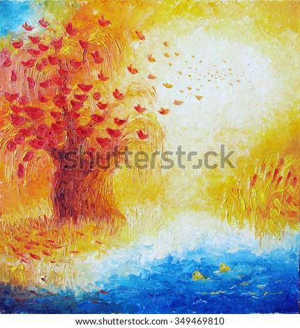 Naive Simple Oil Painting Autumn Birds Fly With Red Wood And Fish Watching