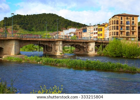 Najera bridge by The way of Saint James in La Rioja of Spain - stock photo