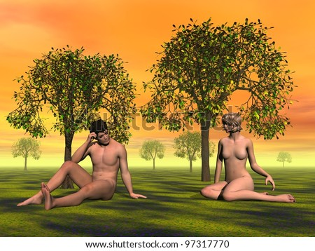 Naked Adam and Eve sitting on the grass in Eden garden by orange sunset - stock photo