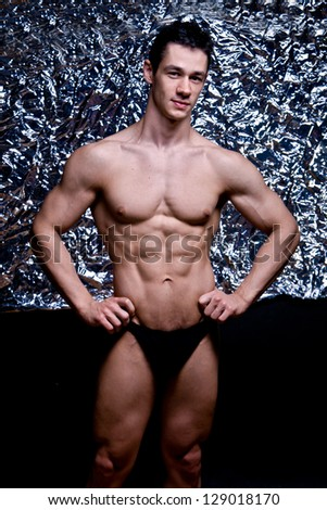 naked athlete with strong body