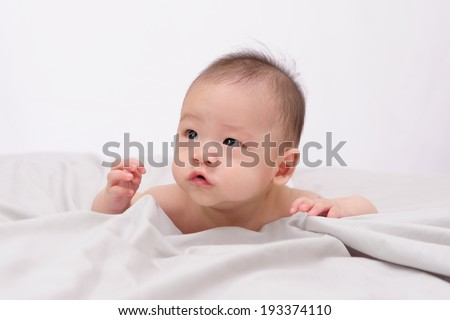 naked baby boy isolated on white background - stock photo