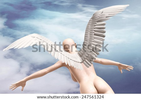 naked beauty woman with wings fly on sky background, 3d illustration - stock photo