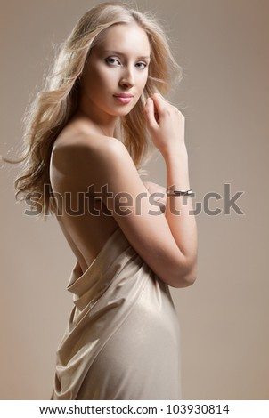 naked girl in the drapery, the back - stock photo