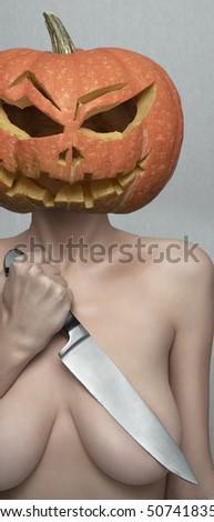 nude girl with pumpkins