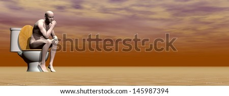 Naked man sitting on the toilet in brown background - stock photo