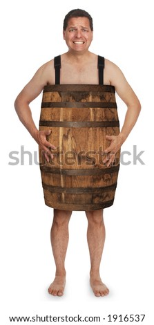 naked man wearing a wooden barrel - stock photo