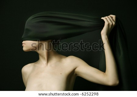 Naked (nude) woman with  black bandage.  Artistic photo. - stock photo