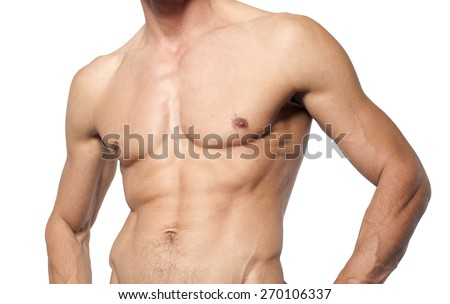 naked smooth muscular male torso on white background