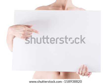 naked woman holding empty white blank board isolated on white background