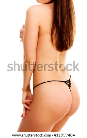 Naked woman, isolated on a white background - stock photo
