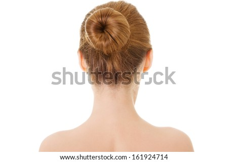 Naked woman's back- head and shoulders. Isolated on white.  - stock photo