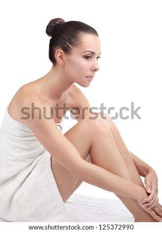 naked woman with pink flower - stock photo