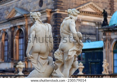 Naked women statues at Zwinger palace in Dresden, Germany  - stock photo