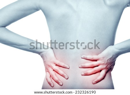 naked young woman with a pain in a waist on a white background.  - stock photo