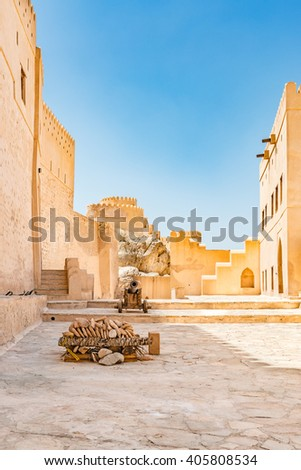 Nakhal Fort in Al Batinah Region, Oman. It is located about 120 km to the west of Muscat, the capital of Oman and is known as Qal'a Nakhal or Husn Al Heem.