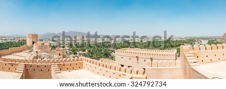 Nakhal in the Al Batinah Region of Oman. It is located about 120 km to the west of Muscat, the capital of Oman. It is known as the town of oasis. - stock photo