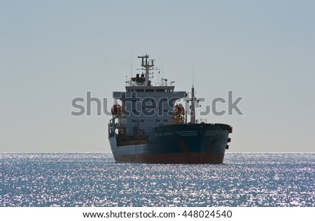 Nakhodka. Russia - October 04, 2015: Tanker Vitaly Vanykhin anchored in the roads.