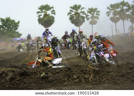 NAKHON NAYOK, THAILAND - April. 12: the race motocross charity No. 2 on April 12, 2014. Wat Nong Khon Kaen, Nakhon Nayok, Thailand.