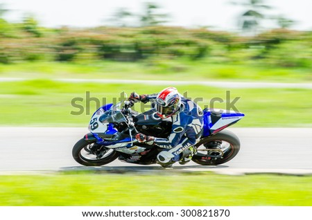 NAKHON PATHOM - JULY 25 : Akekalak T. with Yamaha R3 motorcycle in Thailand SuperBikes Championship 2015 Round 1 at Thailand Circuit, on July 25, 2015 in Nakhon Pathom, Thailand. - stock photo