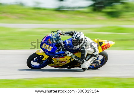 NAKHON PATHOM - JULY 25 : Michael Walker with Yamaha R3 motorcycle in Thailand SuperBikes Championship 2015 Round 1 at Thailand Circuit, on July 25, 2015 in Nakhon Pathom, Thailand. - stock photo