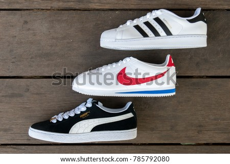 NAKHON PATHOM, THAILAND - DECEMBER 30, 2017 : Adidas superstar white/black  shoes
