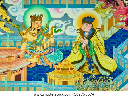 NAKHON PATHOM,THAILAND - FEBRUARY 23 : Traditional Chinese mural on temple wall at Wat Onoi on February 23, 2013 in Nakhon Pathom, Thailand.  - stock photo