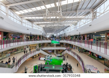 Nakhon Pathom, Thailand - September 18, 2015: Interior view of the Central Plaza SALAYA on SEP 18, 2015. It is the leading fashion retailer and manufactures kids clothing and accessories.