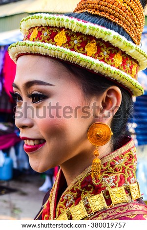 NAKHON PHANOM,THAILAND-FEBRUARY15 :Unidentified young girl in Thai traditional dress at Wat Phra Thatphanom festival of year ,Nakhon Phanom Thailand,February 15,2016