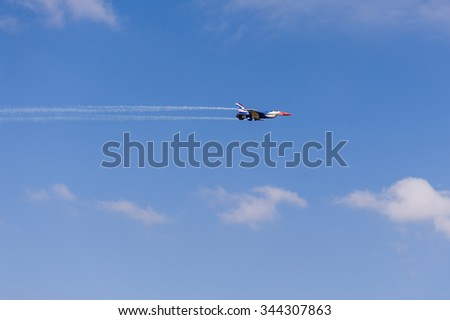 NAKHON RATCHASIMA 27 NOVEMBER :The display of aerobatics shared between the F-16, Gripen and August 1st Aerobatic team on  of - China  on Novemberber 27, 2015 in Nakhonratchasima Thailand.