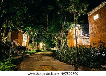 Nakhon Ratchasima Province, Thailan - September 10, 2016: Outside Nannam Country Home Resort at night in Nakhon Ratchasima.
