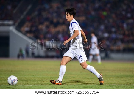 NAKHON RATCHASIMA THA-Feb07:Lim Chang-woo of Korea Rep in action during the 43rd King's cup match between Thailand and Korea Rep at Nakhon Ratchasima stadium on February07,2015 in Thailand. - stock photo