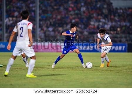 NAKHON RATCHASIMA THA-Feb07:Sarach Yooyen#6 of Thailand in action during the 43rd King's cup match between Thailand and Korea Rep at Nakhon Ratchasima stadium on February07,2015 in Thailand - stock photo