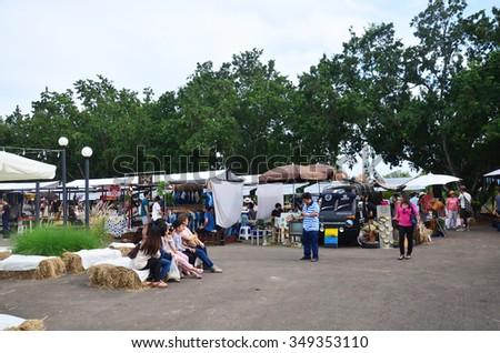 NAKHON RATCHASIMA, THAILAND - NOVEMBER 29 : Thai people travel and shopping at market fair on November 29, 2015 in Nakhon Ratchasima, Thailand. - stock photo