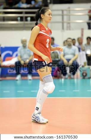 Nakhon Ratchasima, Thailand - SEP 17:Sana Jarlagassova of Kazakhstan in action during Asian Sr.Women's Volleyball Championship Chatchai Hall on September 17, 2013 in Nakhon Ratchasima, Thailand.